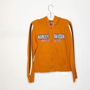 Harley Davidson Zip Jacket Hooded Orange Large